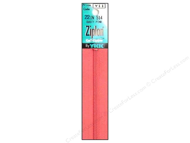 YKK Ziplon Coil Zipper 22 in. Dusty Pink