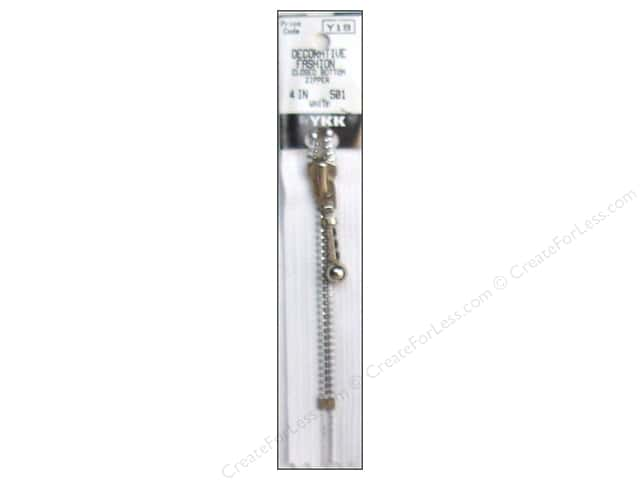"YKK Decorative Aluminum Zipper 4"" White"