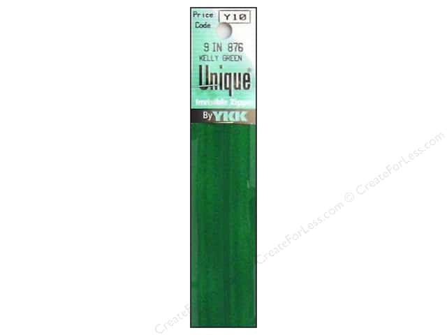 YKK Unique Invisible Zipper 9 in. Kelly Green