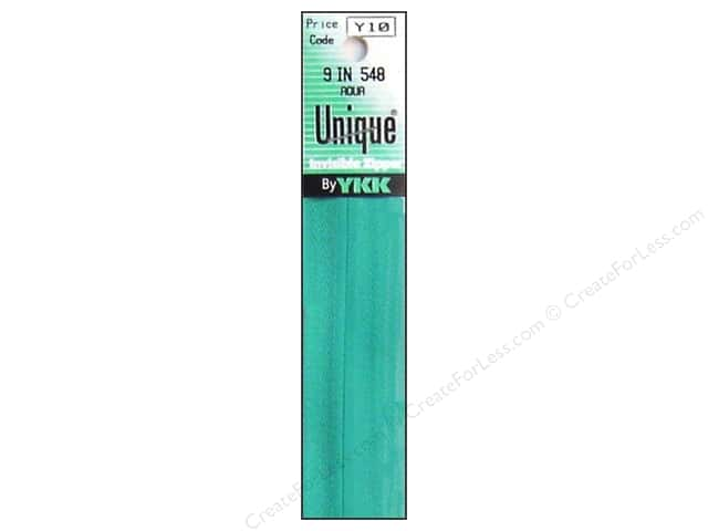 YKK Unique Invisible Zipper 9 in. Aqua