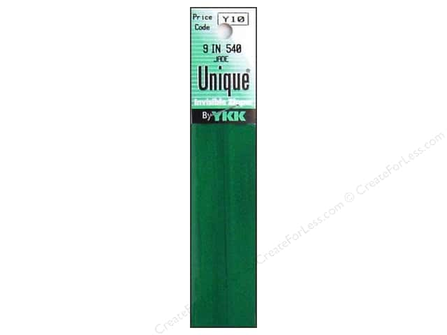 YKK Unique Invisible Zipper 9 in. Jade