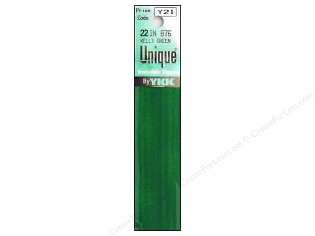 YKK Unique Invisible Zipper 22 in. Kelly Green