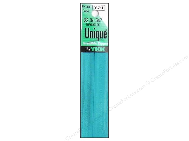 YKK Unique Invisible Zipper 22 in. Turquoise