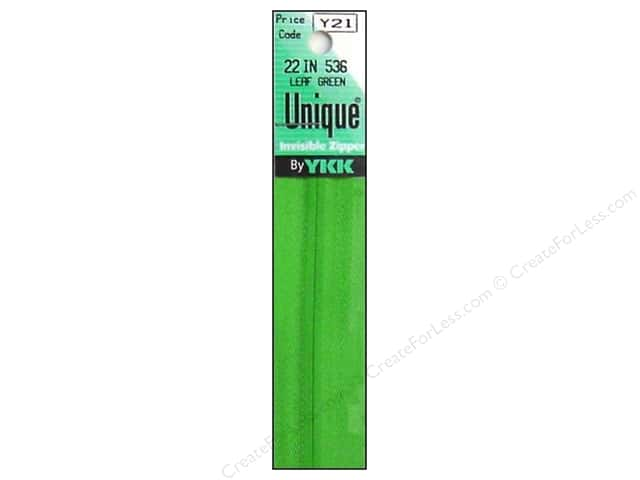 YKK Unique Invisible Zipper 22 in. Leaf Green