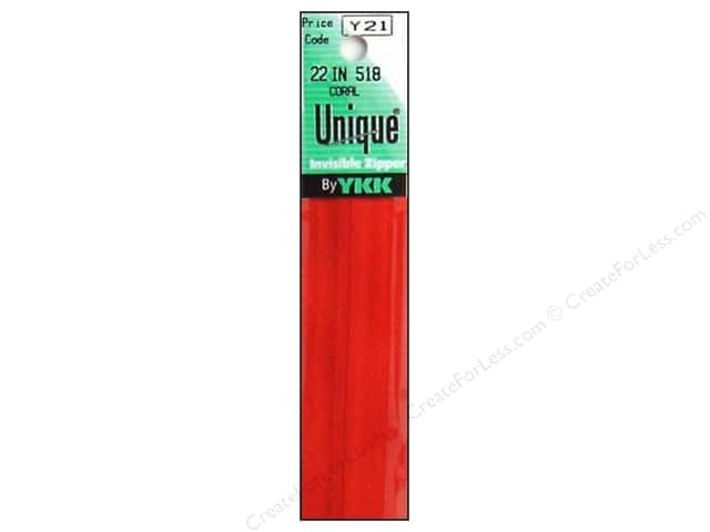 YKK Unique Invisible Zipper 22 in. Coral