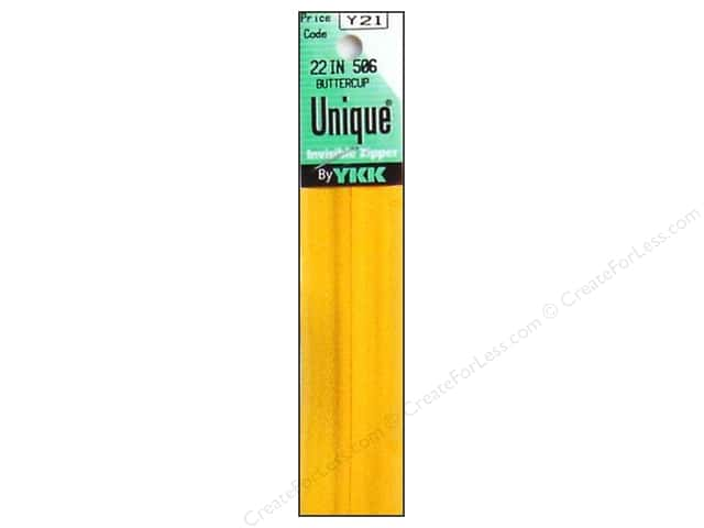 YKK Unique Invisible Zipper 22 in. Buttercup