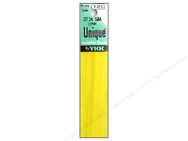 YKK Unique Invisible Zipper 22 in. Lemon