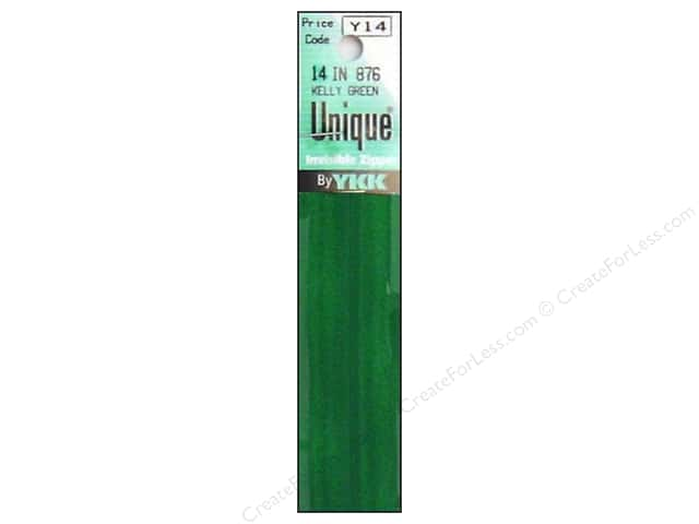 YKK Unique Invisible Zipper 14 in. Kelly Green