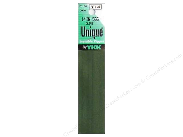 YKK Unique Invisible Zipper 14 in. Olive