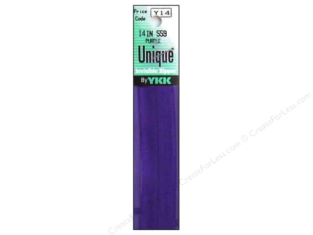 YKK Unique Invisible Zipper 14 in. Purple