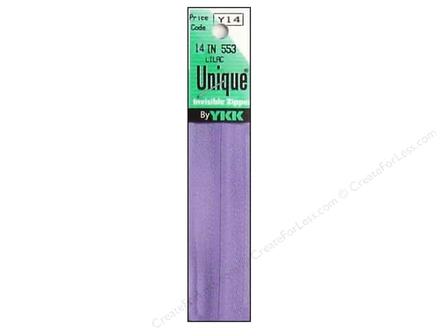 YKK Unique Invisible Zipper 14 in. Lilac