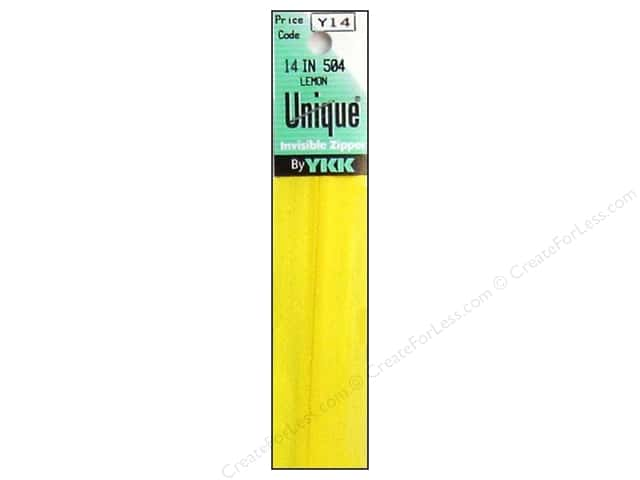 YKK Unique Invisible Zipper 14 in. Lemon