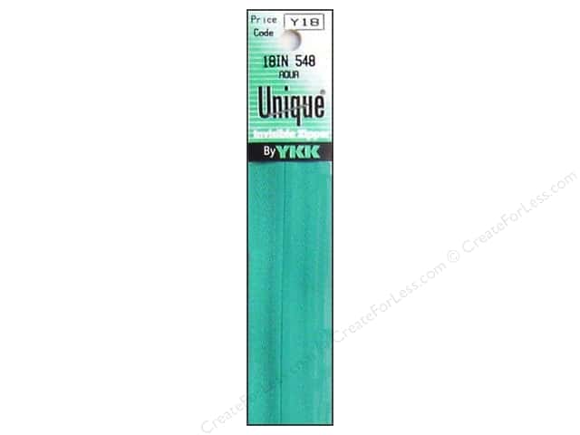 YKK Unique Invisible Zipper 18 in. Aqua