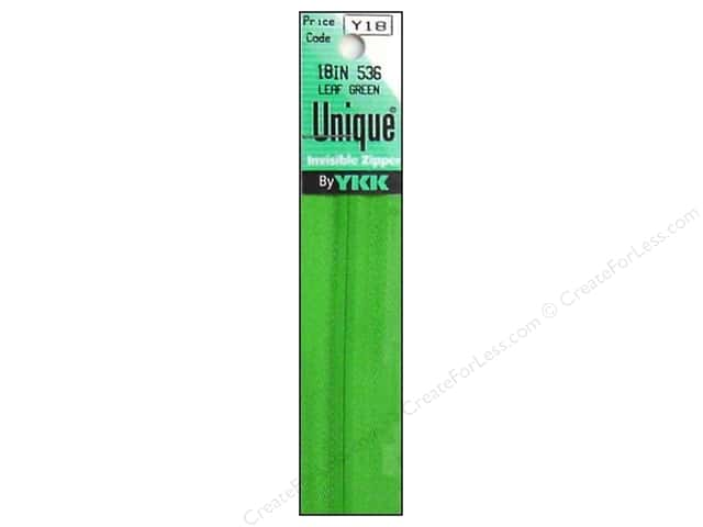 YKK Unique Invisible Zipper 18 in. Leaf Green