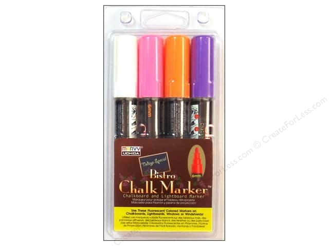 Uchida Bistro Chalk Marker Round Tip Set B White Pink Orange Purple 4 pc.