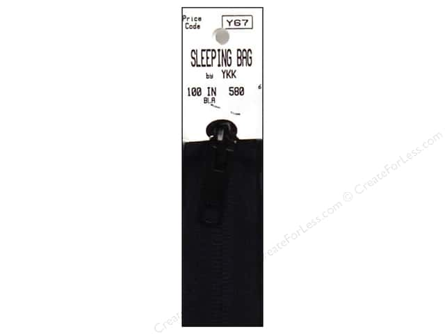 "YKK Sleeping Bag Zipper 100"" Black"