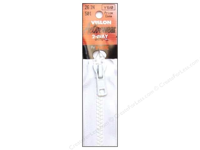 YKK Vislon 2-Way Separating Zipper 26 in. White
