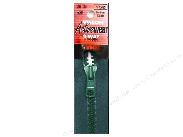 YKK Vislon 2-Way Separating Zipper 26 in. Dark Green