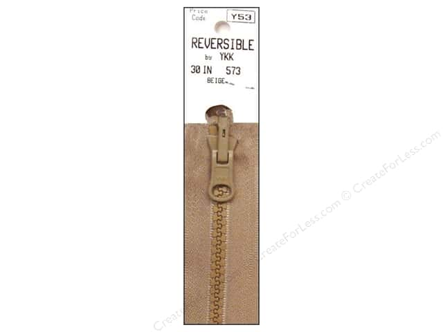 "YKK Vislon Reversible Separating Zipper 30"" Beige"