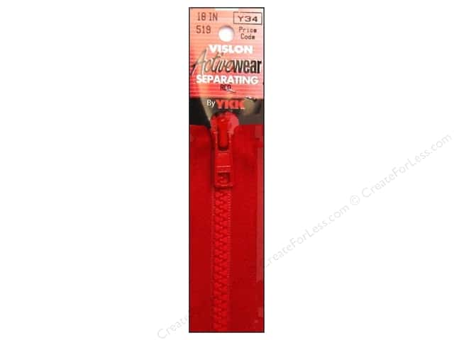 YKK Vislon Separating Zipper 18 in. Red