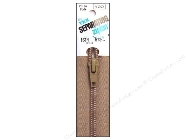YKK Ziplon 1-Way Separating Zipper 16 in. Beige