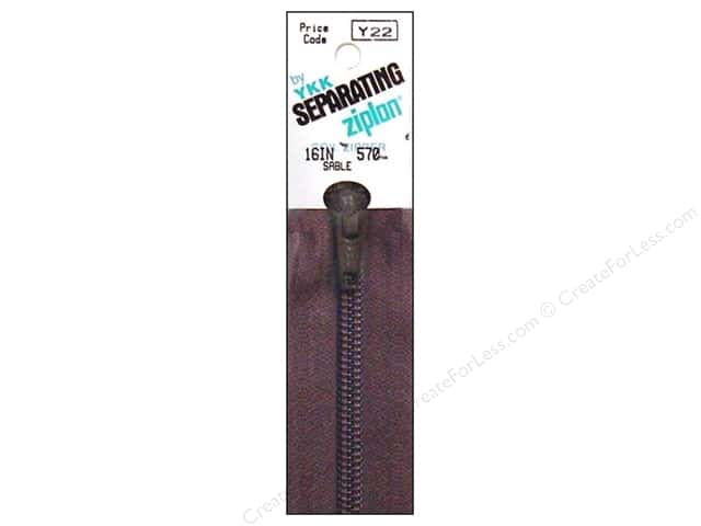 YKK Ziplon 1-Way Separating Zipper 16 in. Sable