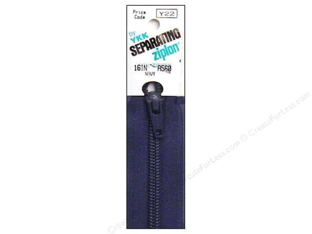 YKK Ziplon 1-Way Separating Zipper 16 in. Navy