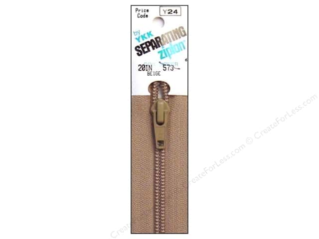 YKK Ziplon 1-Way Separating Zipper 20 in. Beige