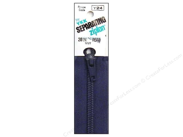 YKK Ziplon 1-Way Separating Zipper 20 in. Navy