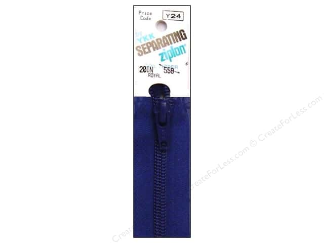 YKK Ziplon 1-Way Separating Zipper 20 in. Royal