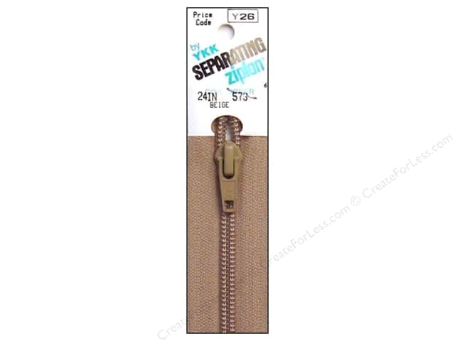 YKK Ziplon 1-Way Separating Zipper 24 in. Beige