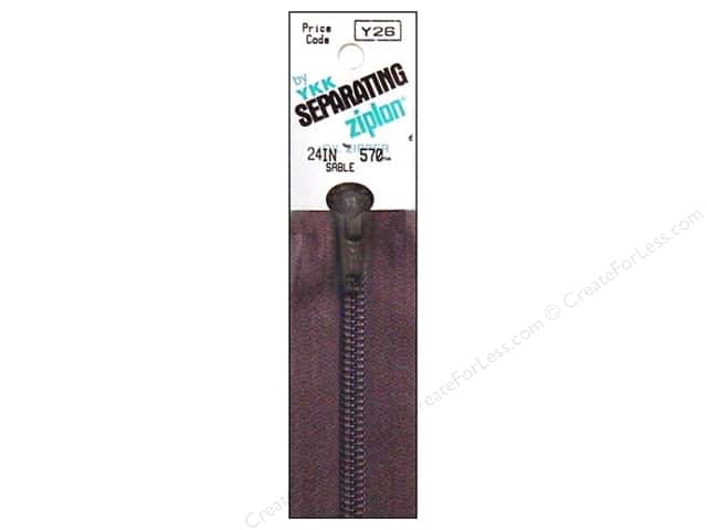YKK Ziplon 1-Way Separating Zipper 24 in. Sable