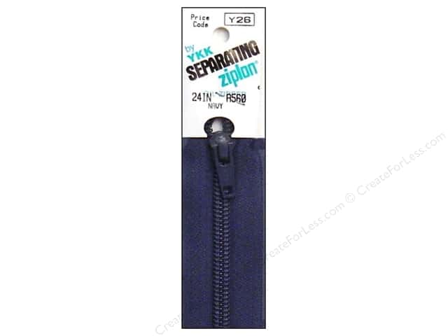 YKK Ziplon 1-Way Separating Zipper 24 in. Navy