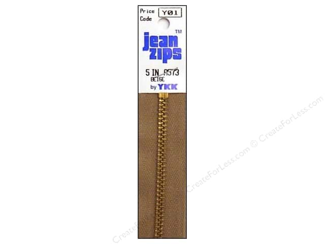 YKK #4.5 Brass Jean Zippers 5 in. #573 Beige