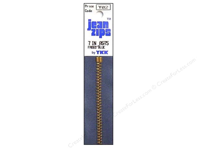 YKK #4.5 Brass Jean Zippers 7 in. #555 Faded Blue