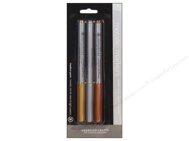 American Crafts Metallic Marker Set Medium Tip 3 pc.