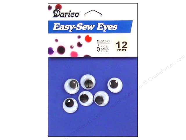 Darice Googly Eyes Sew-On 12 mm Black 6 pc.