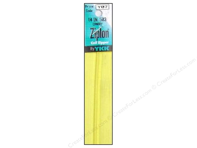 YKK Ziplon Coil Zipper 14 in. Canary