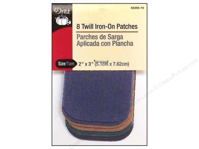 Twill Iron On Patches by Dritz 8 pc. Dark Assortment 2 x 3 in.