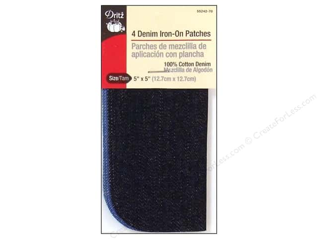 Denim Iron On Patches by Dritz 4 pc. Light & Dark 5 x 5 in.