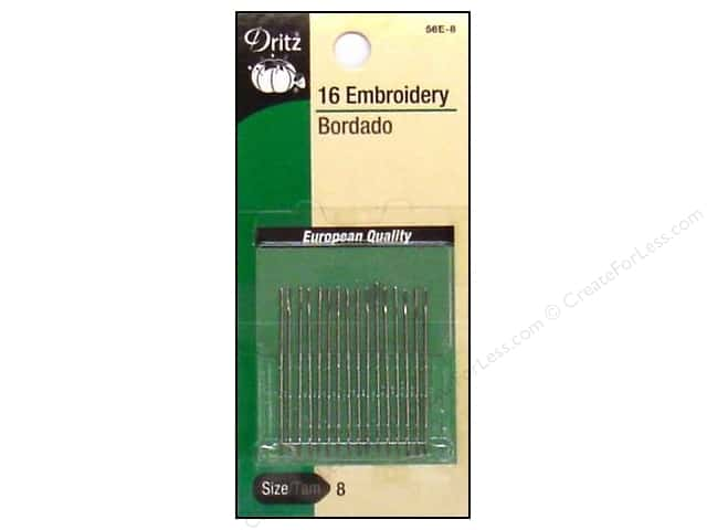 Embroidery Needles by Dritz Size 8 16pc