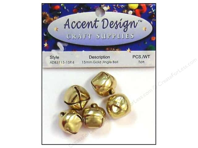 Jingle Bells by Accent Design 5/8 in. 5 pc. Gold (3 packages)