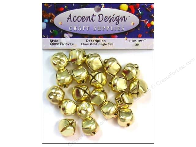 Jingle Bells by Accent Design 5/8 in. 30 pc. Gold