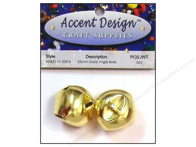 Jingle Bells by Accent Design 1 in. 2 pc. Gold
