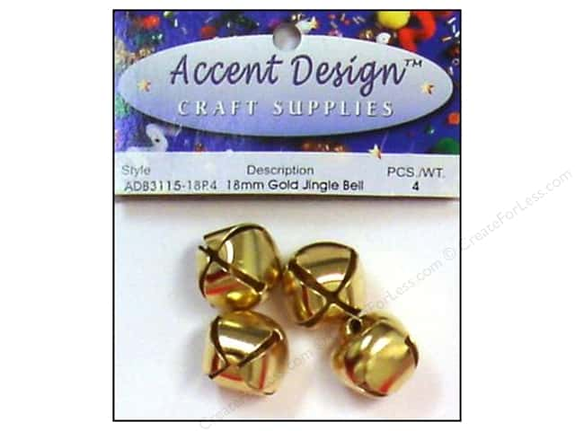 Jingle Bells by Accent Design 3/4 in. 4 pc. Gold