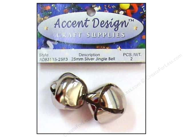 Jingle Bells by Accent Design 1 in. 2 pc. Silver (3 packages)