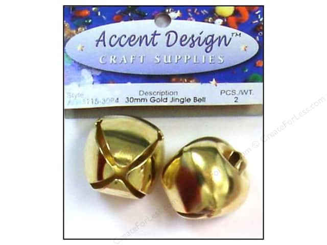 Jingle Bells by Accent Design 1 3/16 in. 2 pc. Gold (3 packages)