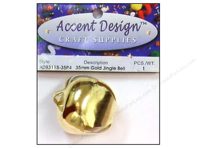 Jingle Bells by Accent Design 1 3/8 in. 1 pc. Gold (3 packages)