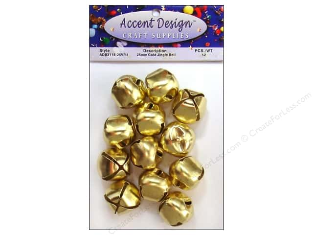 PA Essentials Jingle Bells by Accent Design 1 in. 12 pc. Gold
