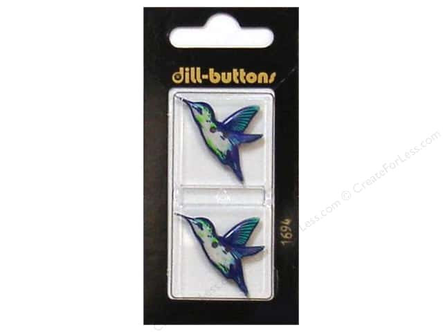 Dill 2 Hole Buttons 1 1/8 in. Blue Hummingbird #1694 2pc.